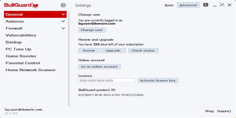 bullguard internet security key